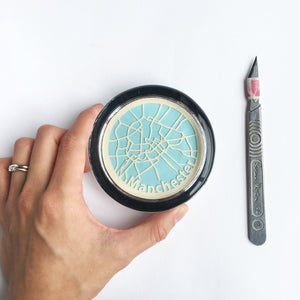 Handcut Map in a glass paperweight