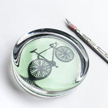 Load image into Gallery viewer, Handcut bike in a glass paperweight