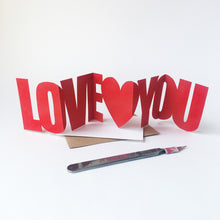 Load image into Gallery viewer, Handcut Love You concertina card
