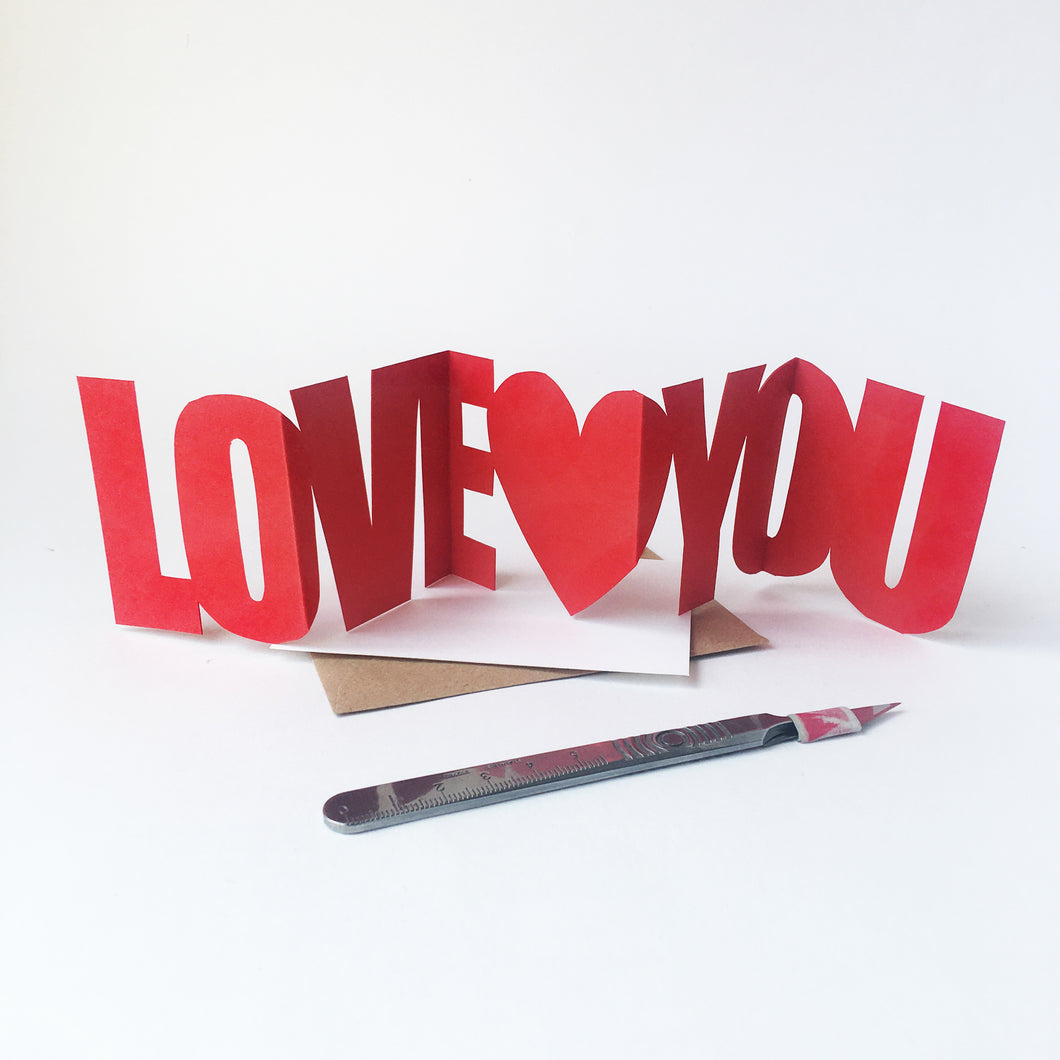 Handcut Love You concertina card