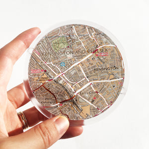 Ordnance Survey Map Coaster with the main roads cut out - London areas