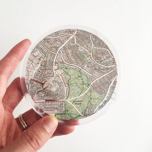 Ordnance Survey Map Coaster with the main roads cut out - Sheffield areas