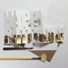 Load image into Gallery viewer, Handcut Happy Birthday concertina card with gold gilding