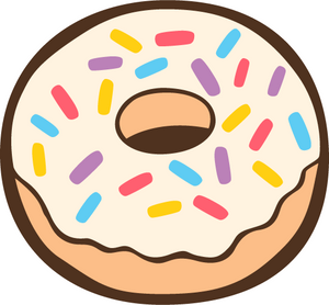 Plain donut with white icing and multi-coloured sprinkles