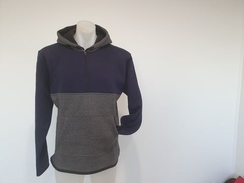 Charcoal & Navy  Hoody with half zip front - No Tail - Just Shear