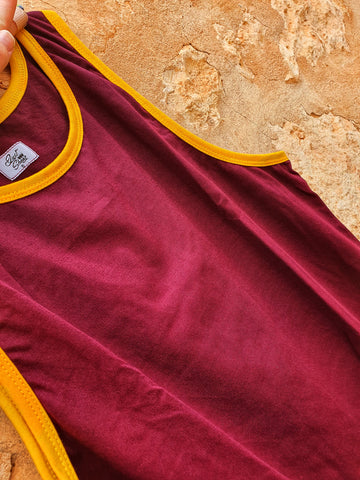NEW Maroon with Gold Trim Shearing Singlet - Just Shear