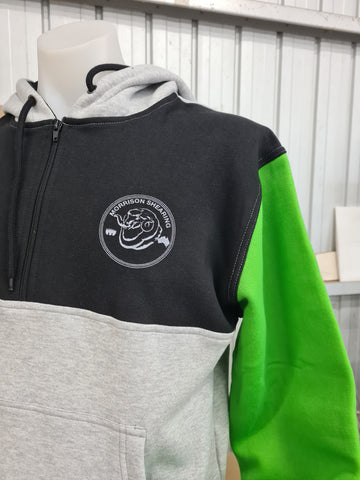 Green Grey & Black Shearing Hoody with half zip front