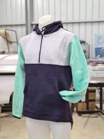 Grey Mint Navy Shearing Hoody with half zip front