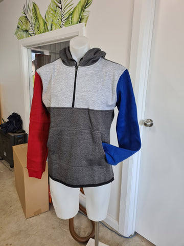 Red, Blue & Grey Shearing Hoody with half zip front & Cuffs