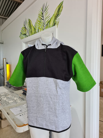 Green, Black & Grey Short Sleeve Hoody