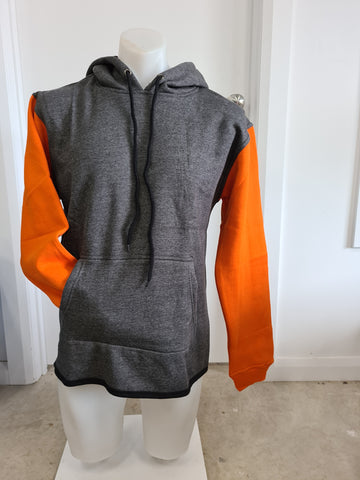 Charcoal & Orange No Zip Shearing Hoody