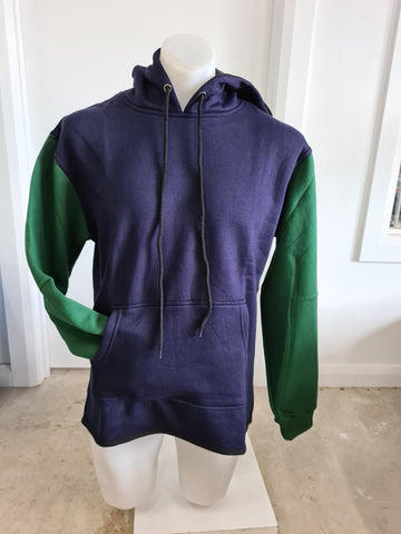 Green & Navy No Zip Shearing Hoody