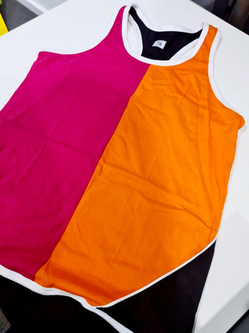 Racer Back Orange, Pink and Black Shearing Singlet