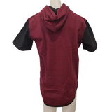 Maroon, Black & Grey Short Sleeve Hoody