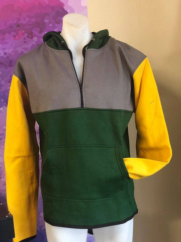 Green Yellow Grey Shearing Hoody with half zip front - Just Shear