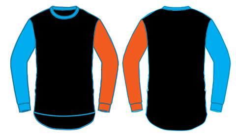Black with Orange & Blue Long Sleeve Tee