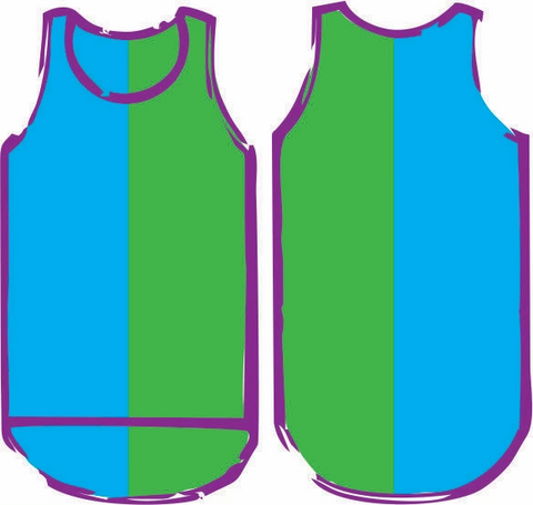 Blue Green Vertical Shearing Singlet - Just Shear