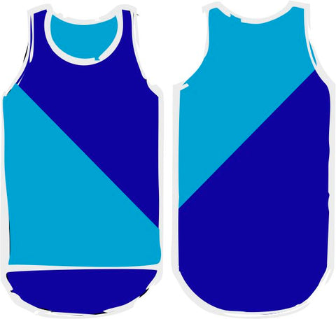 Blue Navy Diagonal Shearing Singlet - Just Shear