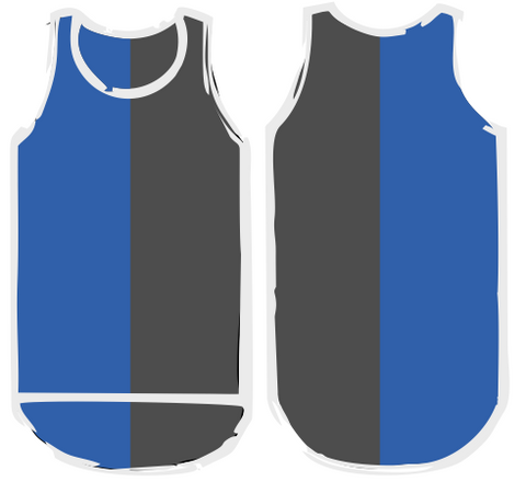 Dark Blue Dark Grey Vertical Shearing Singlet - Just Shear
