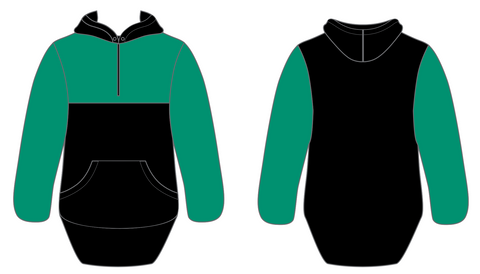 Dark Green & Black Half Zip Hoody
