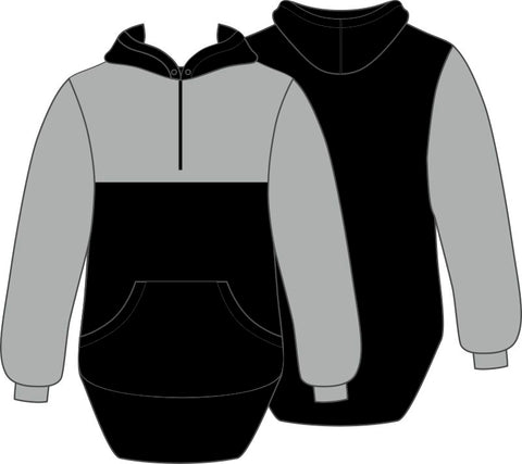 Grey & Black Shearing Hoody with half zip front - Just Shear