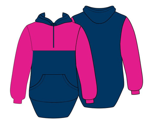 Hot Pink & Navy Blue Shearing Hoody with half zip front - Just Shear