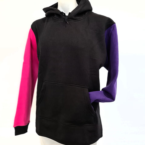 Black, Pink & Purple No zip hoody No Cuffed sleeves