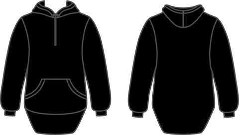 Black Shearing Hoody with half zip front - Just Shear