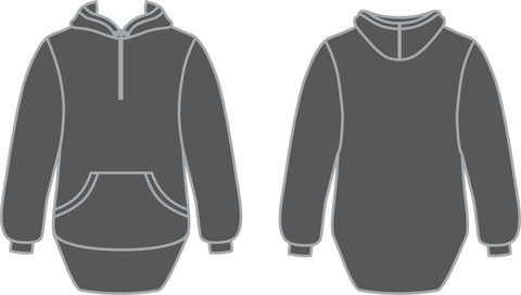 Grey Shearing Hoody with half zip front - Just Shear