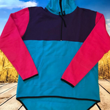 Pink Blue Purple Shearing Hoody with half zip front
