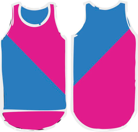 Hot Pink & Royal Blue Diagonal Shearing Singlet - Just Shear