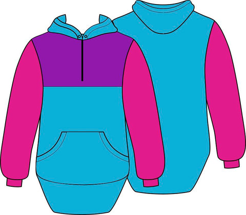 Pink Blue Purple Shearing Hoody with half zip front - Just Shear