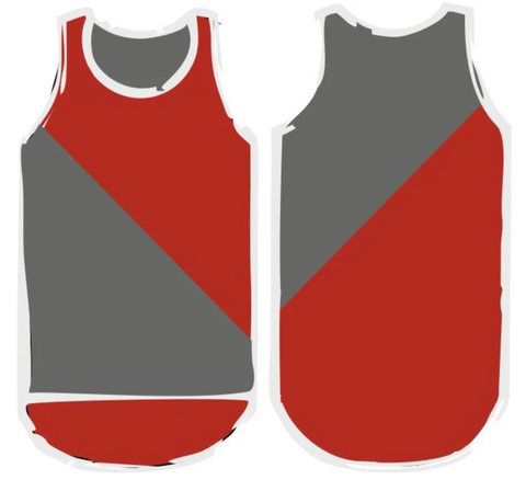 Red & Smoke Grey Diagonal Shearing Singlet