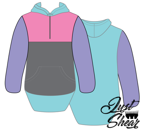 Pastels Hoody With Half Zip Front - Long Tail Sleeve