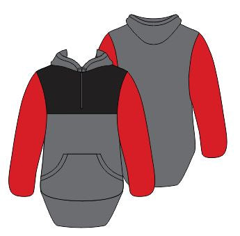 Black, Red & Grey Shearing Hoody with half zip front - Just Shear