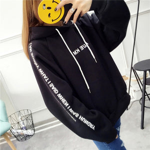 Letters Printed Casual  Hoodies for Female