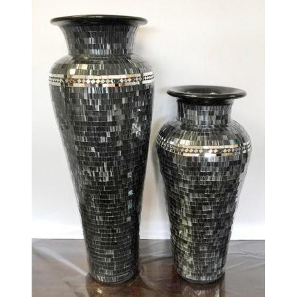 STUNNING SILVER BLACK FLOOR STANDING MOSAIC VASES WITH 6  COLOURS TO CHOOSE FROM. - WORLD OF DECOR
