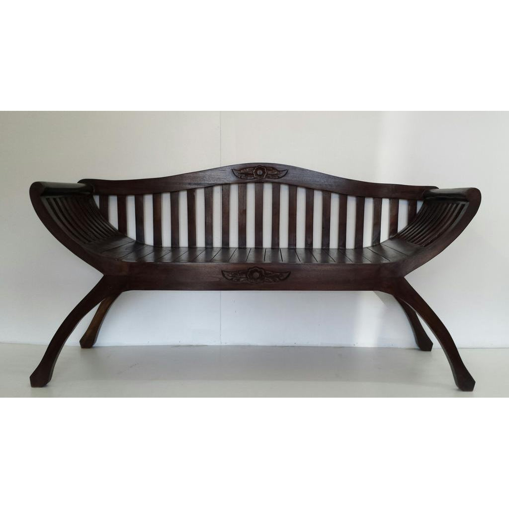 TEAK KARTINI 2 SEAT BENCH WITH BACK - WORLD OF DECOR