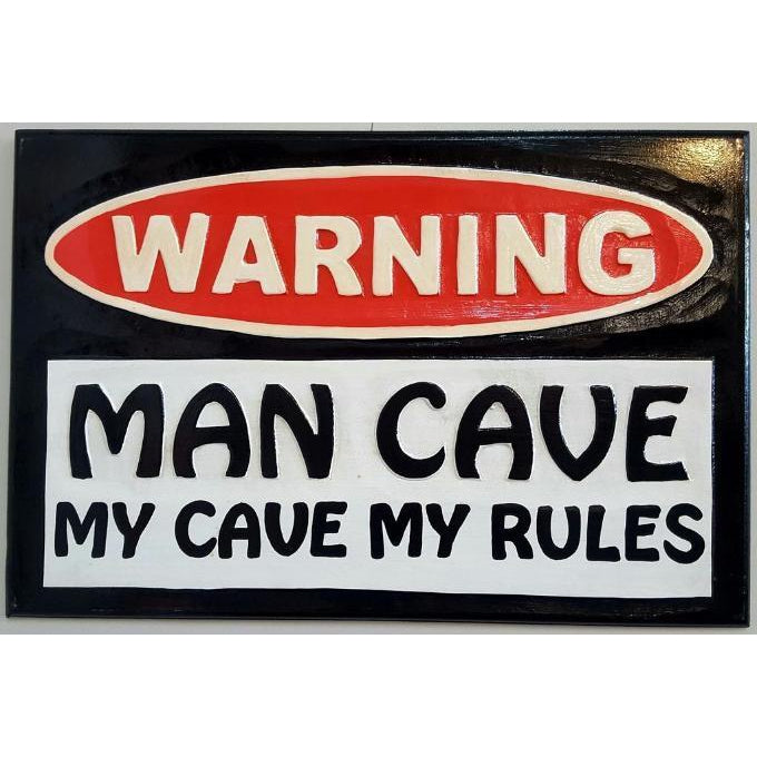 MAN CAVE PLAQUE - WORLD OF DECOR