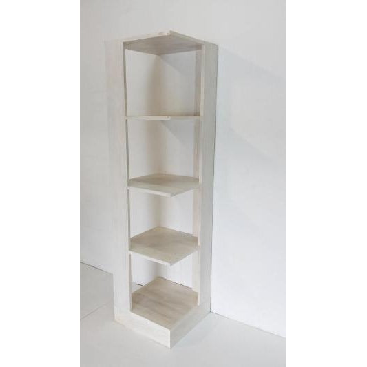 TEAK CORNER SHELVES - WHITE WASHED - WORLD OF DECOR