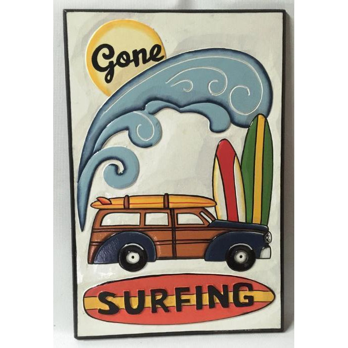 GONE SURFING PLAQUE - WORLD OF DECOR