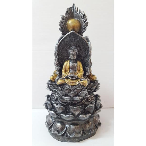 3 multi Buddha on lotus-Silver - WORLD OF DECOR