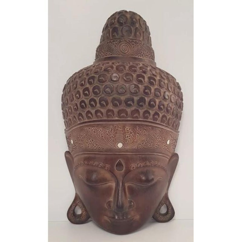 Hand Carved Extra Large Buddha Head-Brown - WORLD OF DECOR