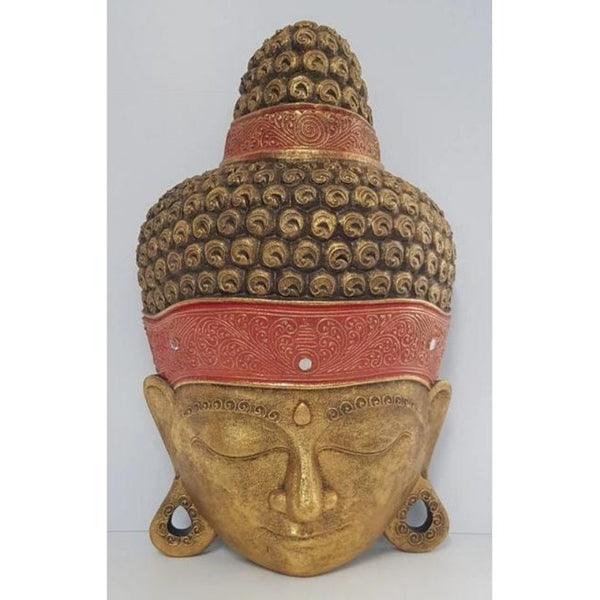 Hand Carved Extra Large Buddha Head-Gold - WORLD OF DECOR