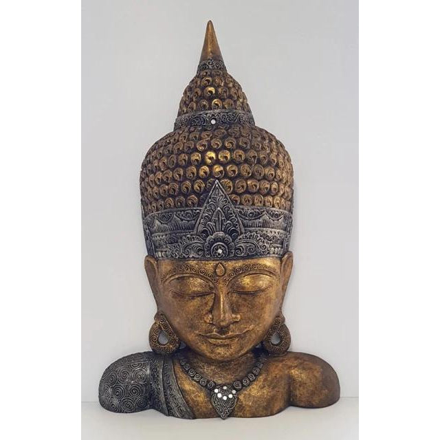 Hand Carved Extra Large Buddha Head stand - WORLD OF DECOR