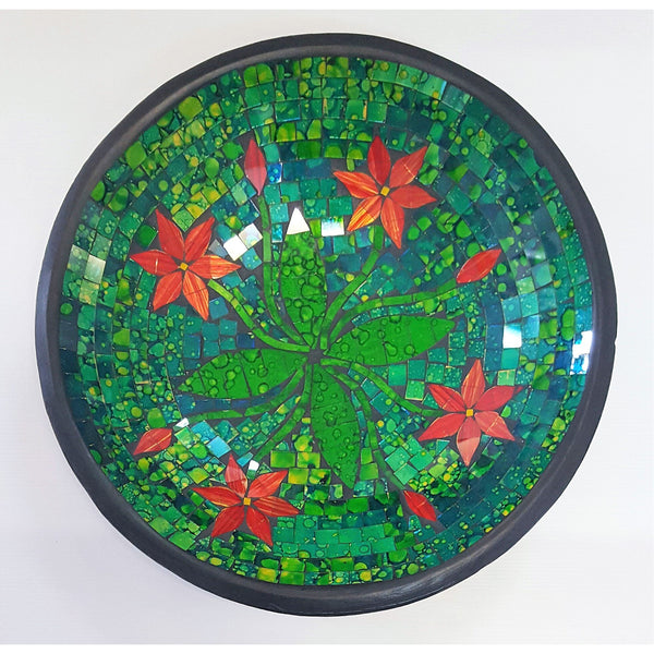 MOSAIC FLOWER BOWL IN GREEN - WORLD OF DECOR