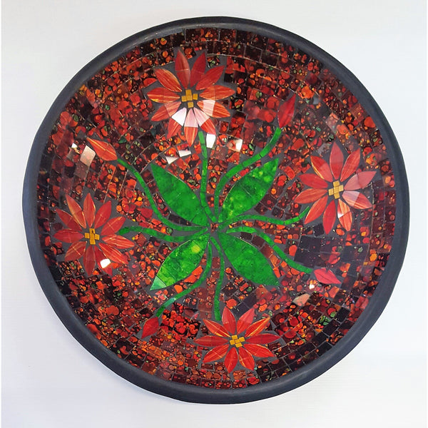 Mosaic flower bowl in red - WORLD OF DECOR