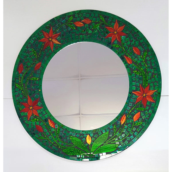 Flower design mosaic mirror in green - WORLD OF DECOR