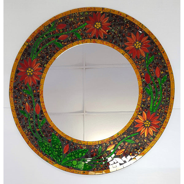 Flower design mosaic mirror in red - WORLD OF DECOR
