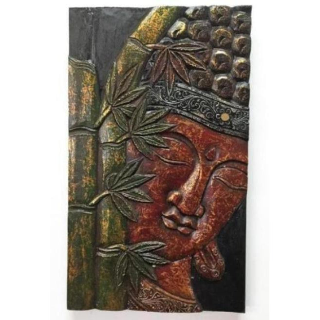 Carved Buddha face wall plaques - WORLD OF DECOR
